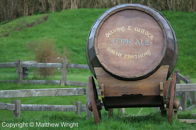 A barrel of hobbit ale near the Green Dragon Inn.