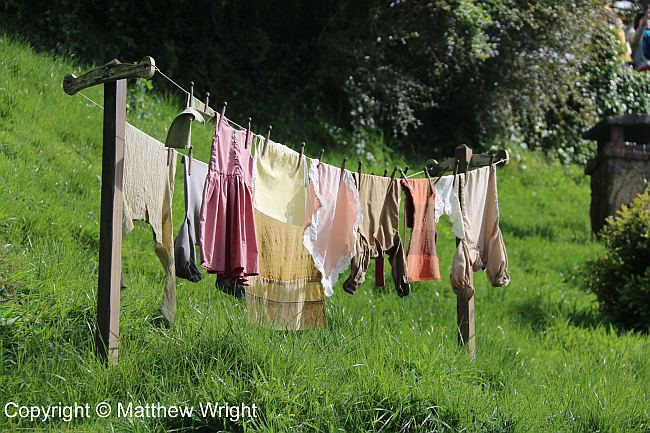 Hobbit laundry on the Hobbiton Movie Set.