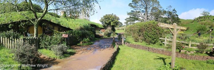 Walking into the real thing - the Hobbiton Movie set.