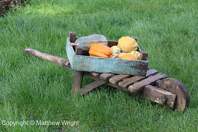 Set dressing: a wheelbarrow - Hobbit-sized - in Hobbiton.