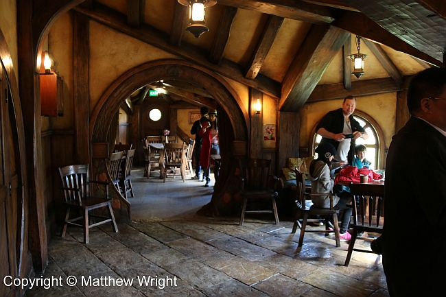 Inside the Green Dragon, Hobbiton movie set. Would Tolkien have been publishable today? Probably not...