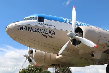 The Mangaweka Skyliner - DC-3 on concrete in the central North Island, New Zealand.