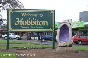 The welcome sign in Matamata, the town nearest the Hobbiton Movie Set.