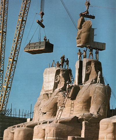 Abu Simbel on the move via 20th century technology. Public domain, via Wikipedia.