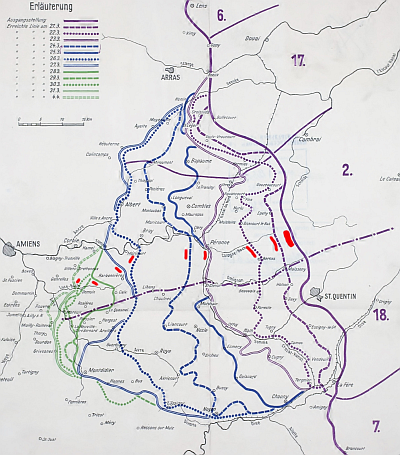 German map of part of the 1918 Spring Offensive, the 'Kaiserschlacht'. Public domain, via Wikipedia.