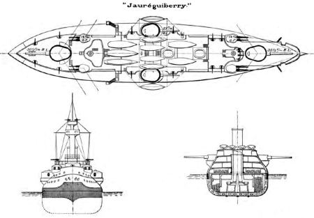 The Jaureguiberry, French battleship of 1893 with pronounced tumblehome and a displacement some 2000 tons LESS than the Zumwalt. Public domain, Brassey's Naval Annual 1897, via Wikipedia.