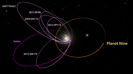 The putative Planet 9 and the orbits of the KBOs that were used to deduce the possibility. Credit: Caltech/R. Hurt (IPAC); [Diagram created using WorldWide Telescope.] - See more at: https://www.caltech.edu/news/caltech-researchers-find-evidence-real-ninth-planet-49523#sthash.mD4q1vgg.dpuf