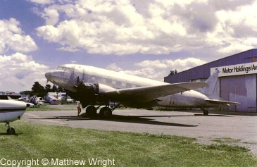 DC-3 under restoration at Hood aerodrome, 1987.