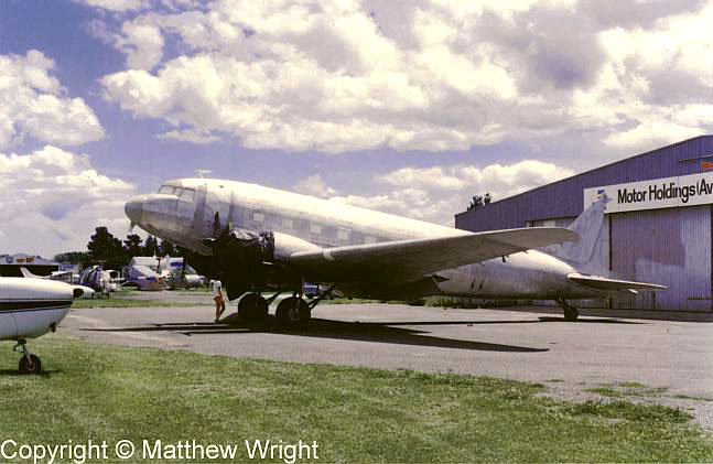DC-3 under restoration at Hood aerodrome, 1987.