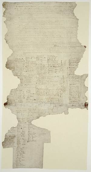 The 'Waitangi' Treaty parchment - what's left of it, anyway.