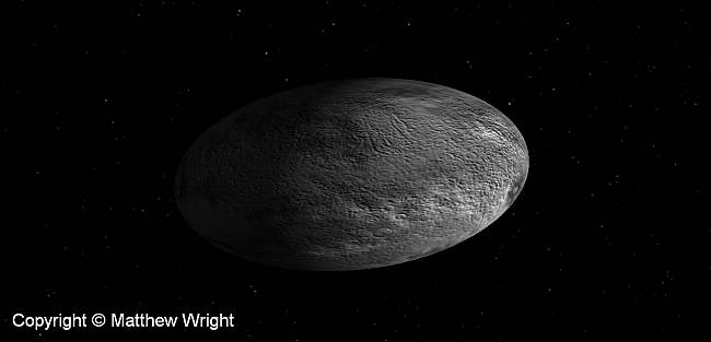 Haumea. A picture I made with my trusty Celestia installation p- cool, free science software.