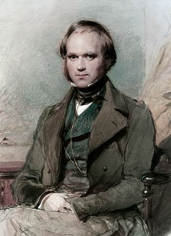 Charles Darwin after writing the first draft (detail from watercolour by G. Richmond, public domain, via Wikipedia).
