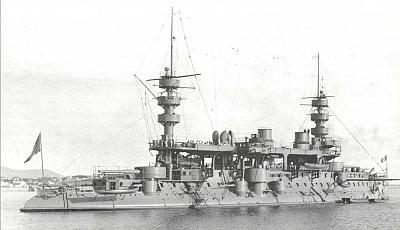 The French battleship Charles Martel, completed in 1897. Public domain, via Wikipedia.