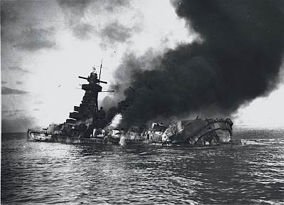 Graf Spee, scuttled off Montevideo after coming off second-best in a battle with a cruiser force that included the New Zealand vessel HMS Achilles. Public domain, via Wikipedia.