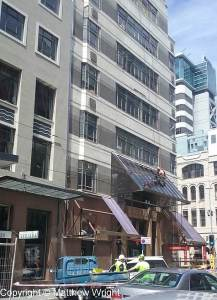 Buildings in Featherston street, Wellington, damaged by the Mw 7.8 quake on 14 November 2016.