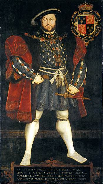 Henry VIII, by Hans Eworth after Holbein. Sixteenth century Photoshoppery - Henry became morbidly obese, unfit and smelly, but that didn't stop artists portraying him with - you've guessed it - bulging calf muscles. Public domain.