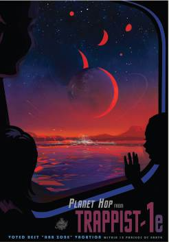 NASA-produced travel poster for the TRAPPIST-1 system... (NASA, public domain).