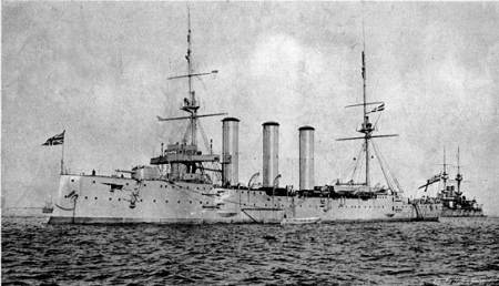 HMS Monmouth (1901) - cruiser built around the 'hail of fire' theory. Public domain, via Wikipedia.