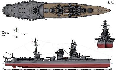 IJN Ise, as modified 1943-44 with X and Y turrets removed and a short flight deck. Flight operations were always going to be a compromise. Public domain, via Wikipedia.