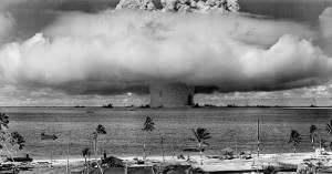 Test Baker - a 23kt Mk III nuclear bomb detonated underwater off Bikini Atoll on 25 July 1946. US DoD, public domain.