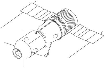 The original Soyuz 7K design by Sergei Korolev. Public domain, via Wikipedia.