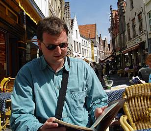 Here I am in Brugges, selecting a Belgian beer. Trappist? Well, I'd do that NOW...